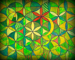 flower of life red n white n yellow moon