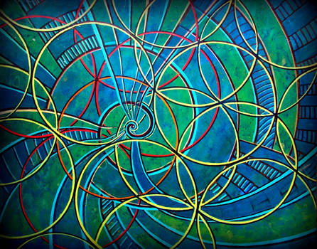 blue spiral w flower of life yellorange