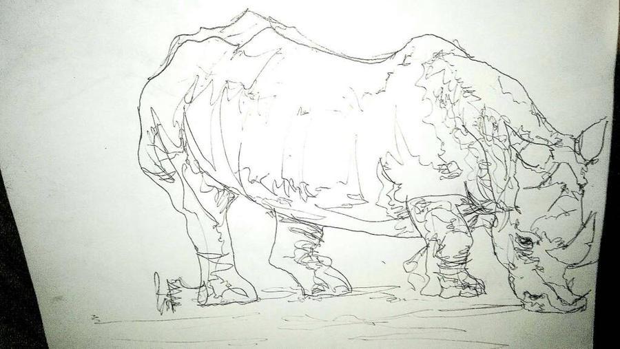 rhino, pen by Officialart-by