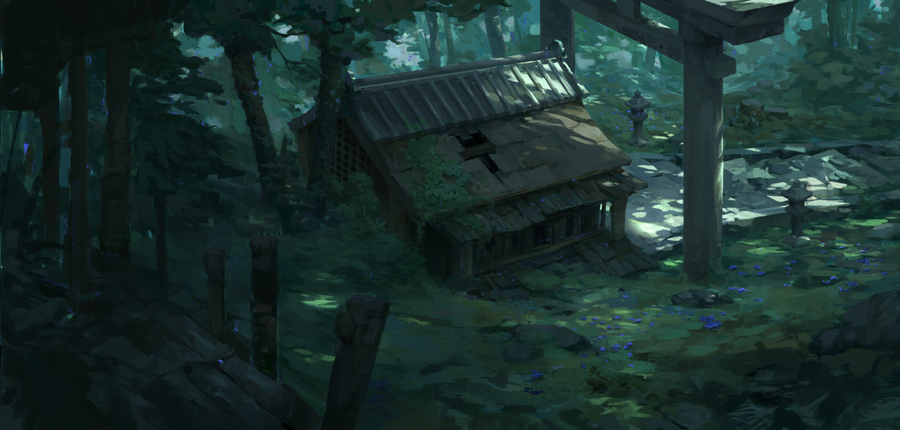 forest shrine by oliverryanart