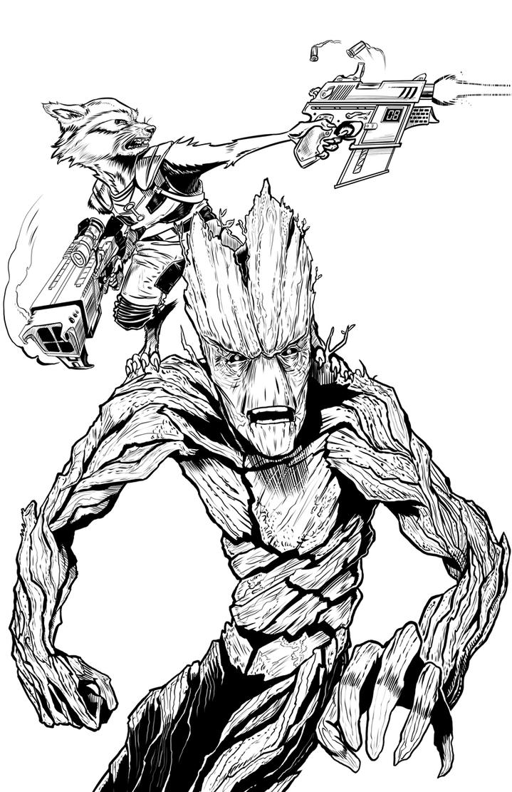Groot and Rocky Ink by DecayingArt