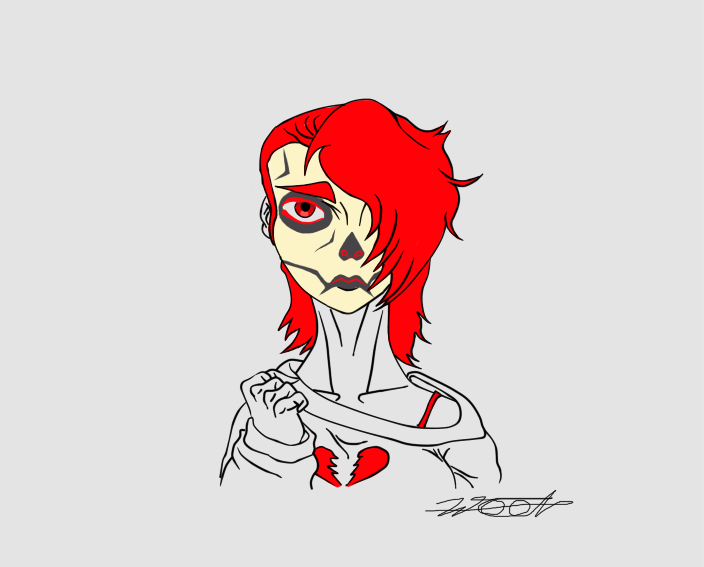 Dark Love Skull Make up by WELL-ArtLOL