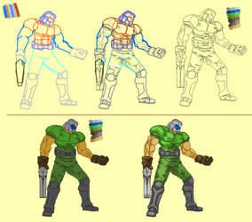 Doomguy Pixel art creation process