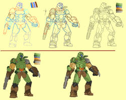 Doom Slayer Pixel art creation process