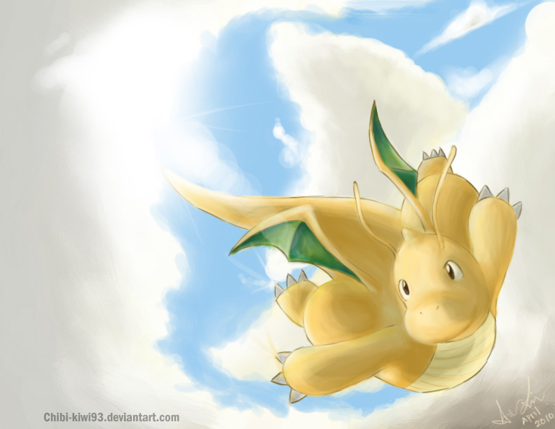 dragonite in the clouds by chibi kiwi93 on deviantart