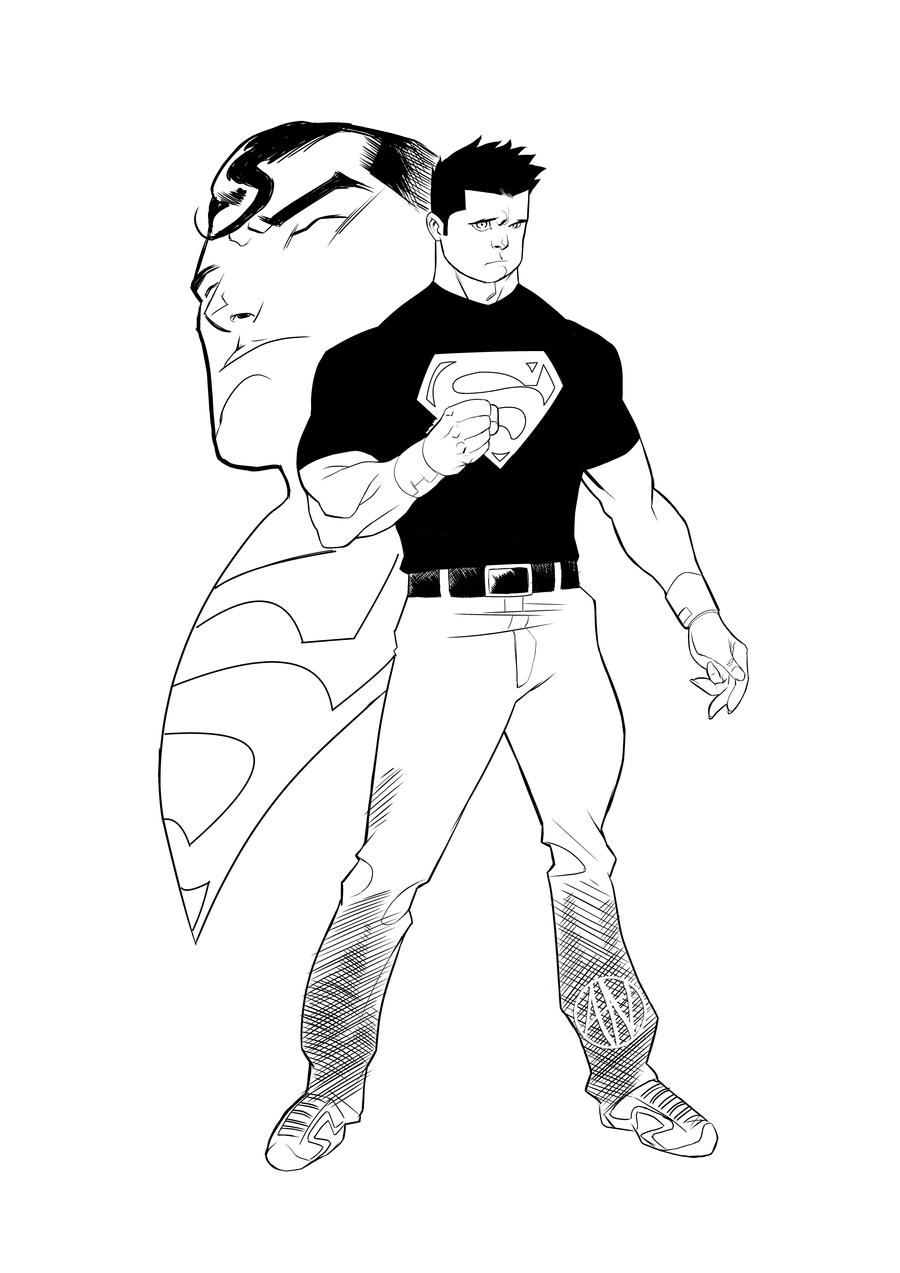 Superboy Inks By Theadriannelson On Deviantart Justice Superboy Coloring Pages Free