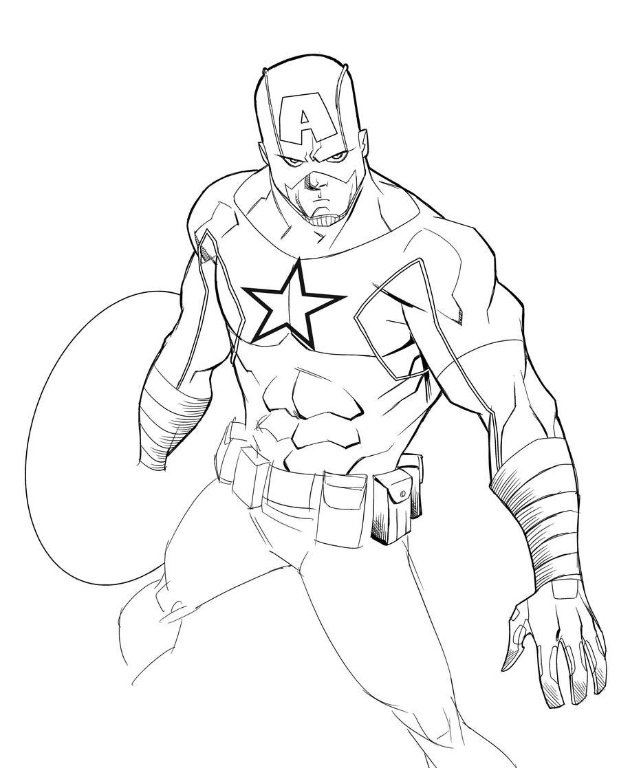 Line Art America : Captain america by theadriannelson on deviantart