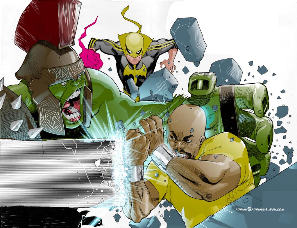 Powerman V Hulk by TheAdrianNelson