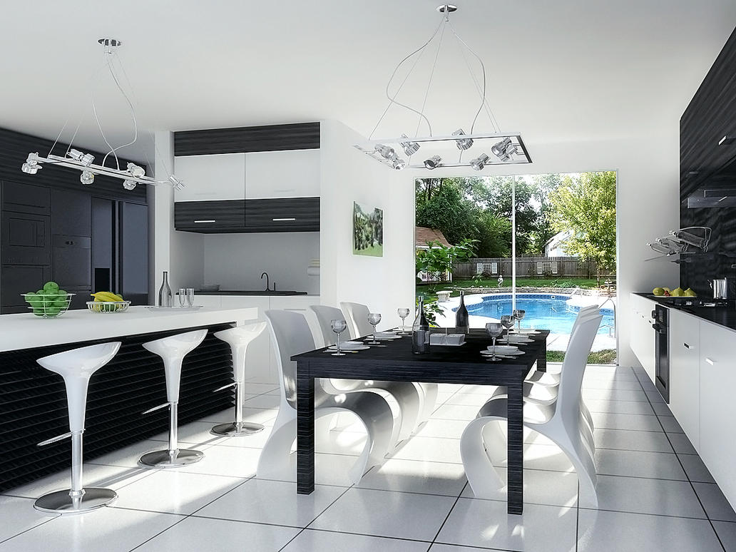 3D Interior Modern Kitchen *black and white by cobraromania