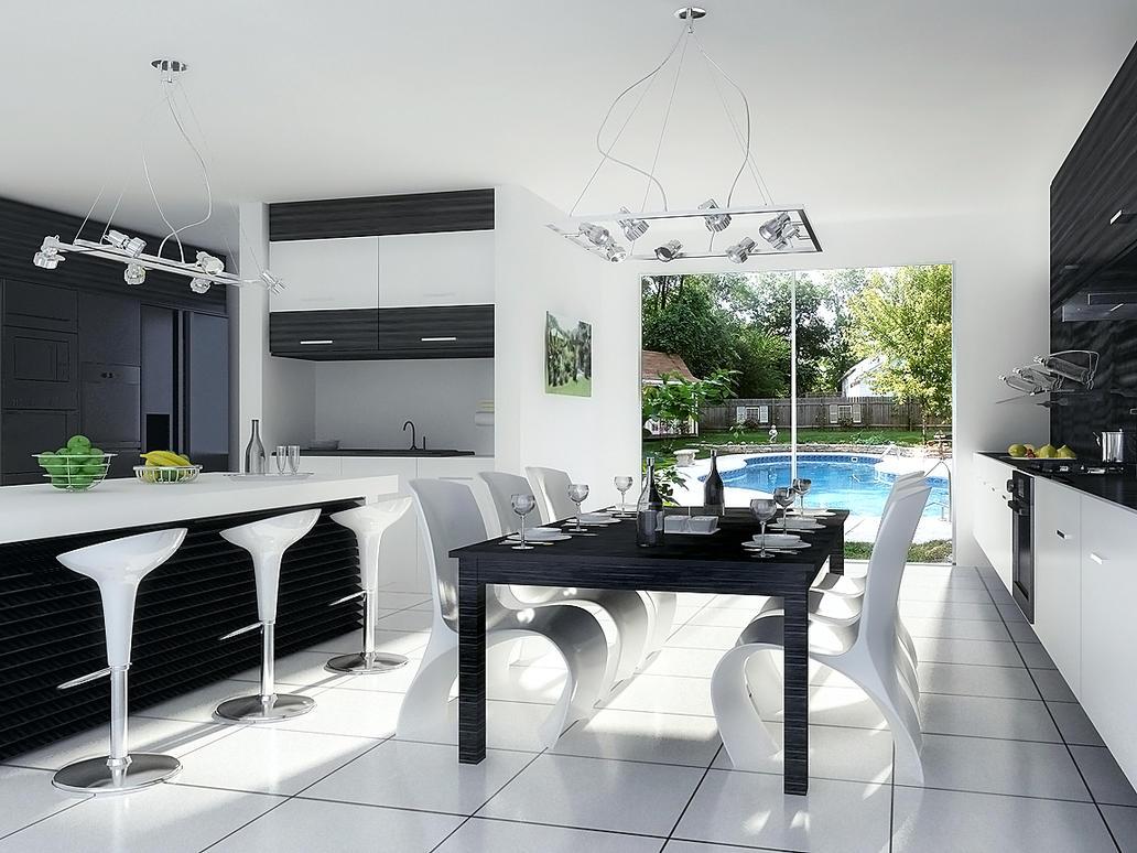 3d Interior Modern Kitchen Black And White By