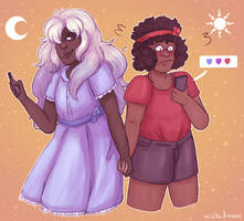 Human Ruby and Sapphire by MislaidMoss