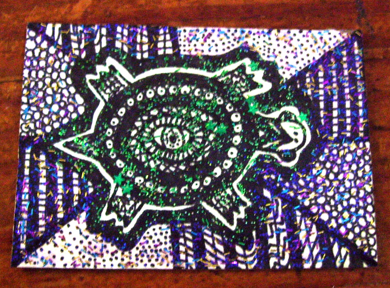 Glitter Turtle Aceo by mintdawn