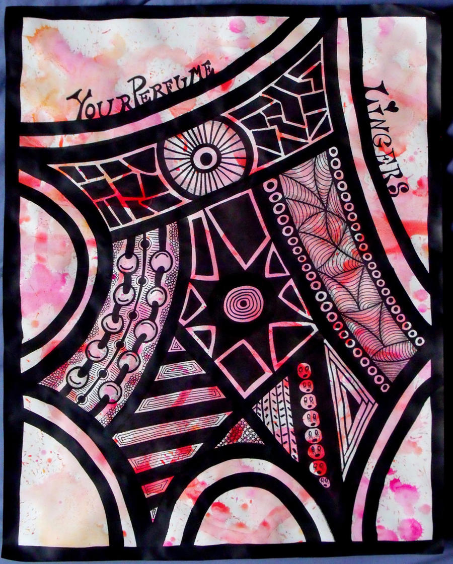 Pink Perfume Zentangle by mintdawn