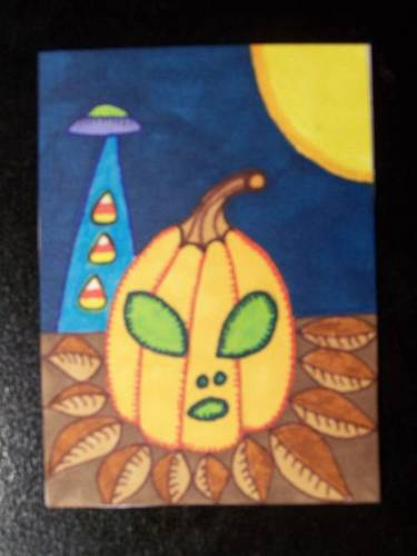 Halloween Alien Abduction ATC by mintdawn
