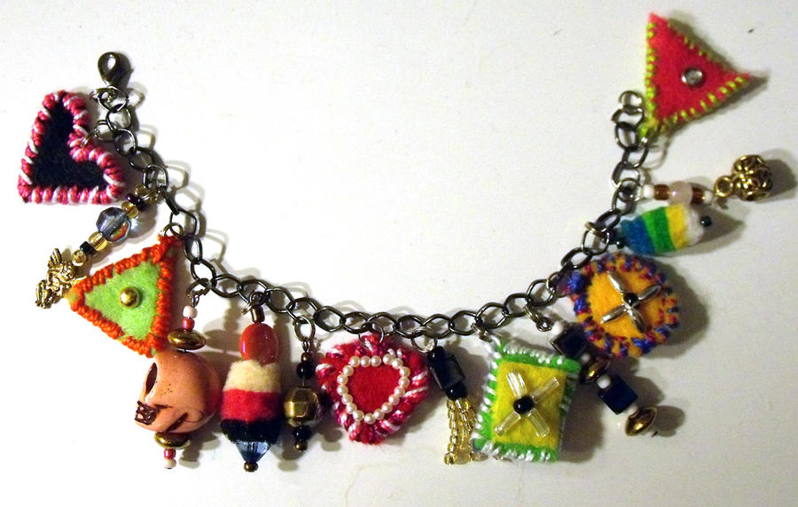 Fabric Charm Bracelet by mintdawn