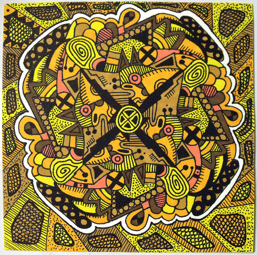 Yellow Mandala for 6x6 by mintdawn
