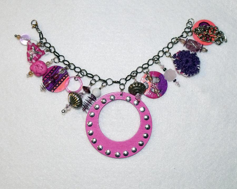 Pink Funky Chunky Charm Bracelet by mintdawn