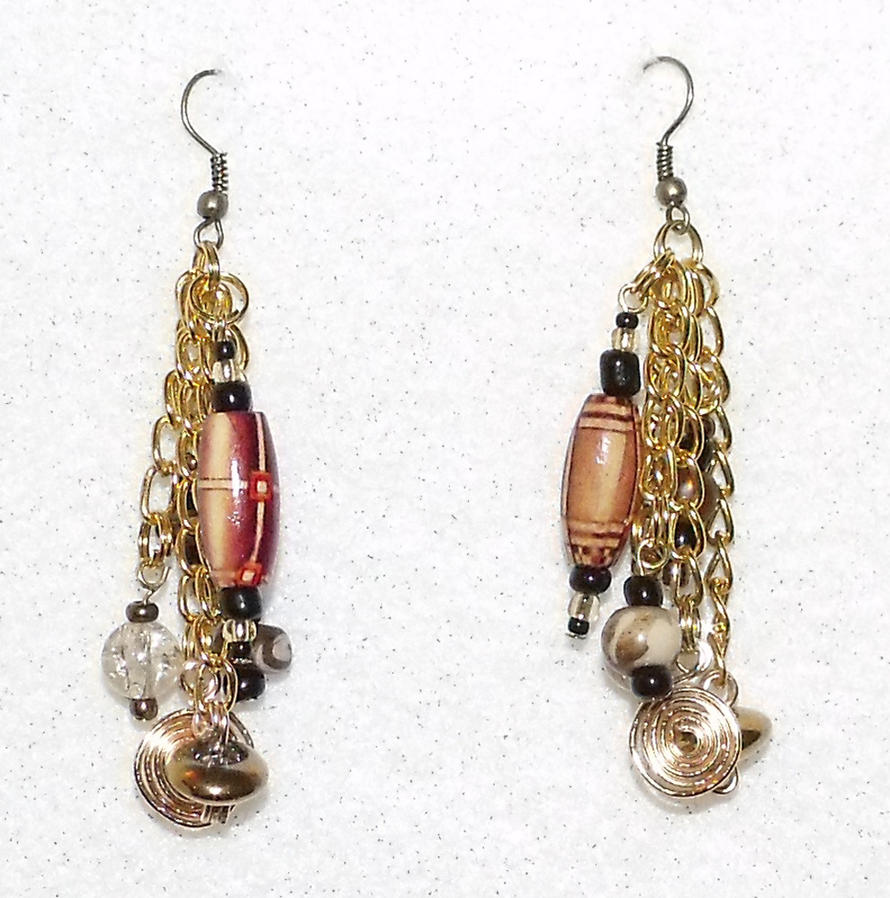 Gold Tribal Earrings by mintdawn
