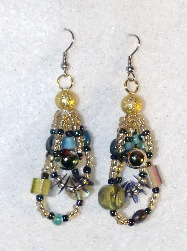 Aqua and Gold Bollywood Earrings by mintdawn
