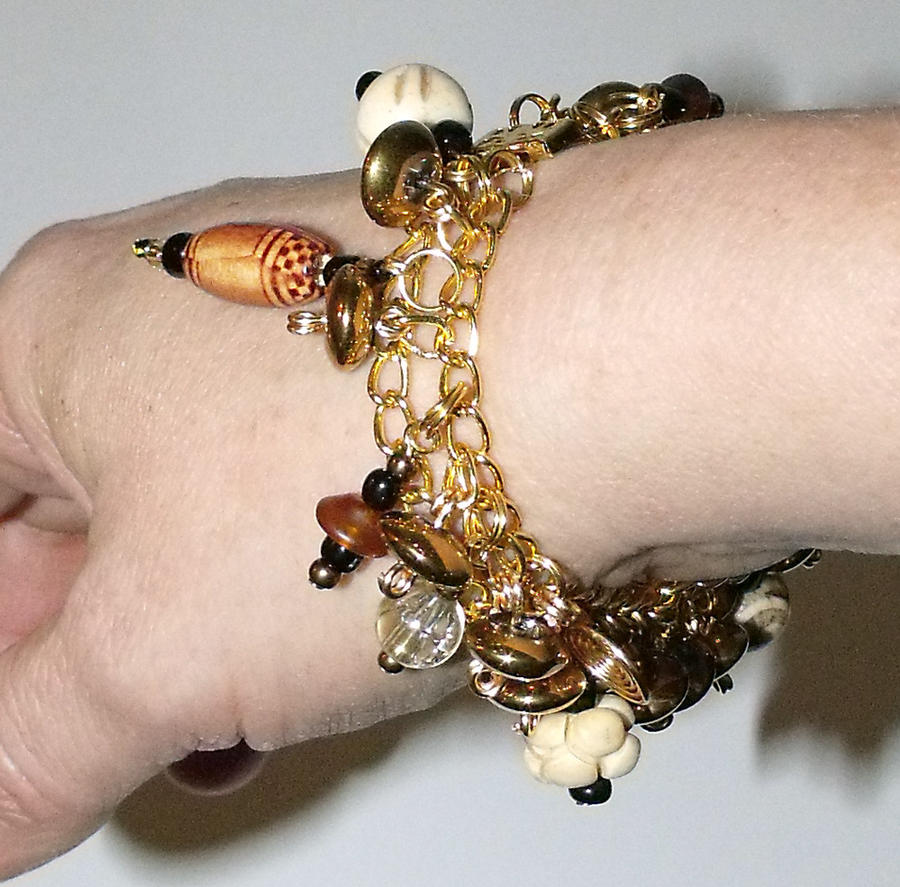 Gold and Wood Tribal Charm Bracelet by mintdawn