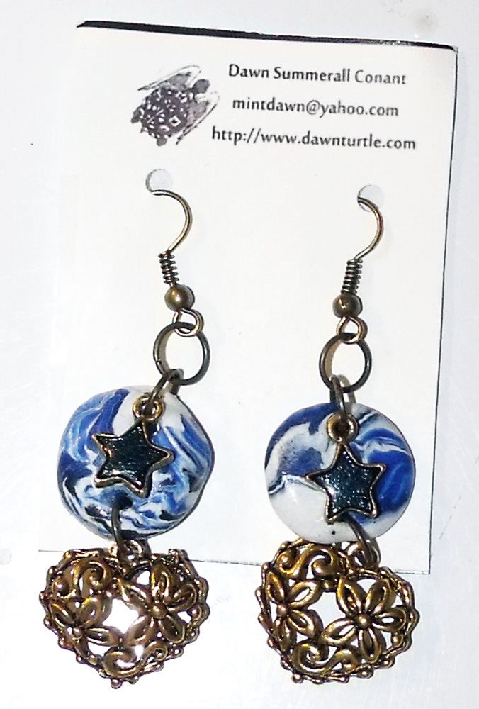 Blue and Gold Earrings by mintdawn