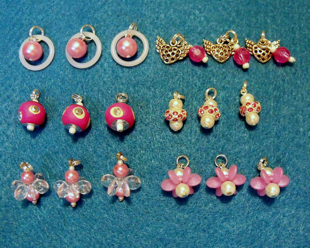Pink White and Silver Charms by mintdawn