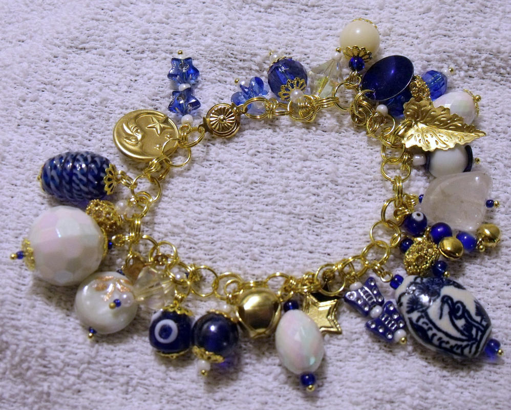 Blue White and Gold Charm Bracelet by mintdawn