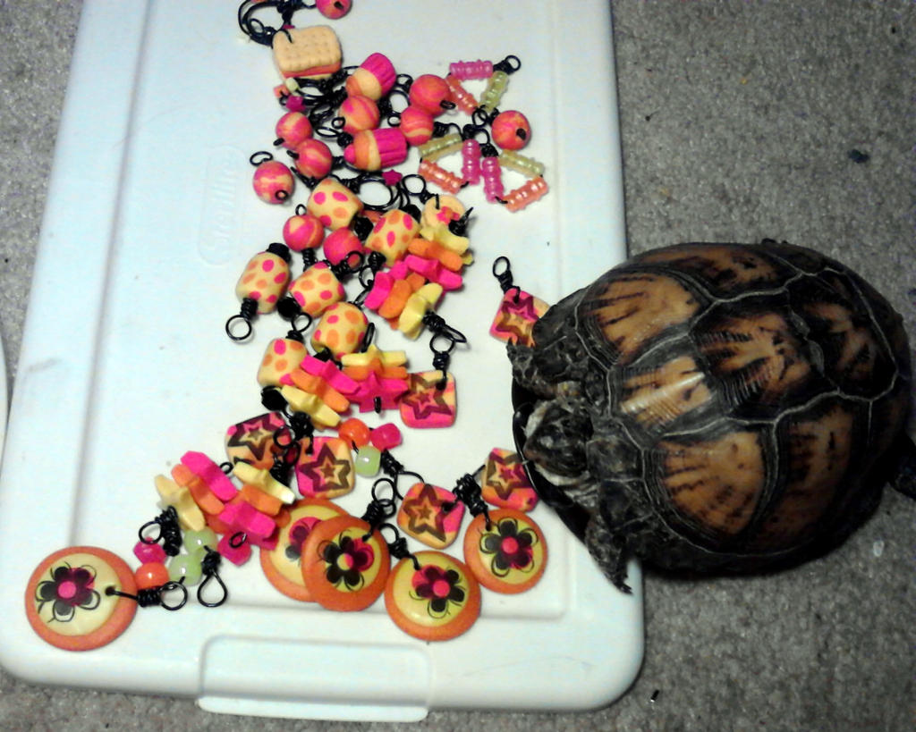Pink Yellow Orange and Black Charms by mintdawn