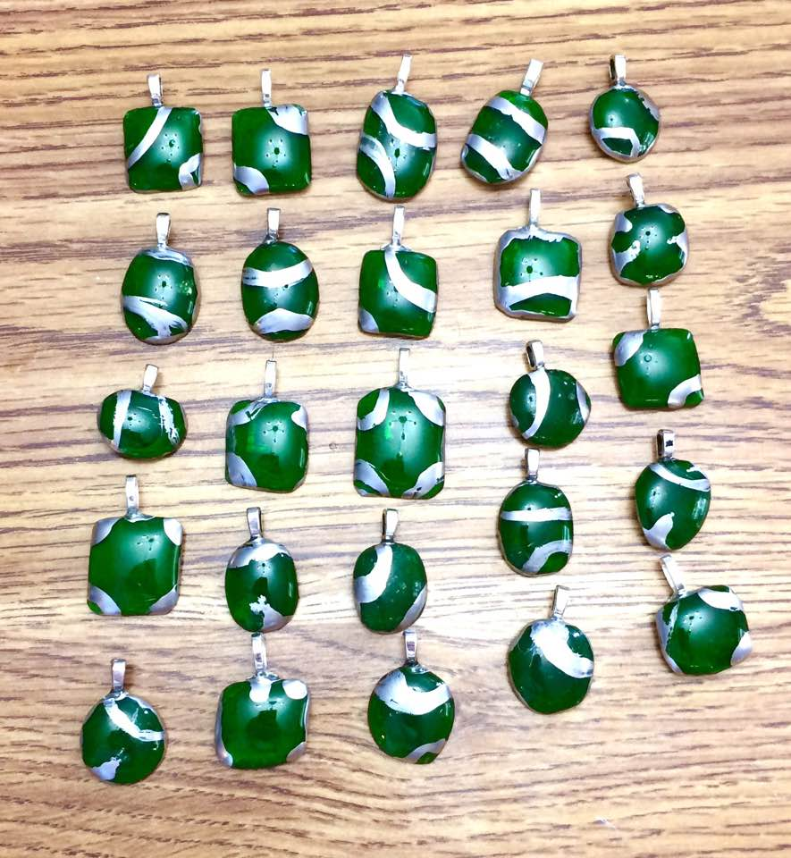 Green Glass Charms by mintdawn