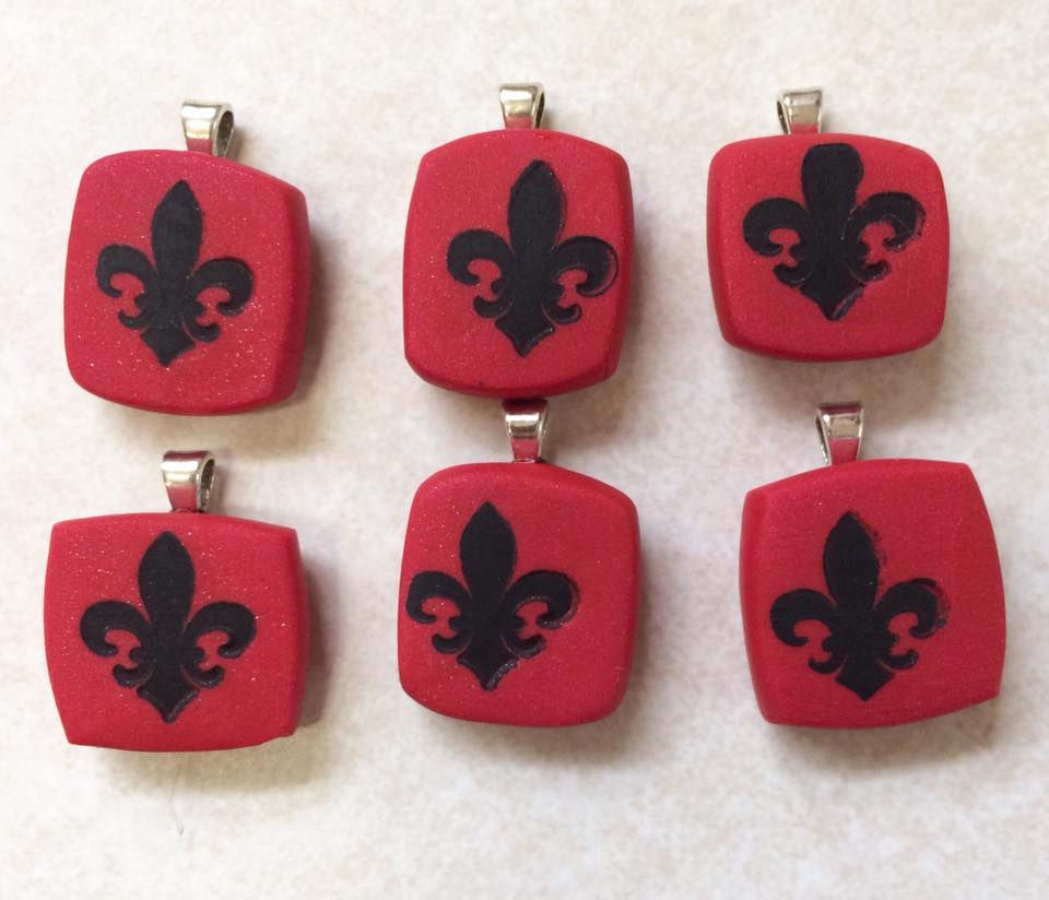 Red Fleur De Lis Charms by mintdawn