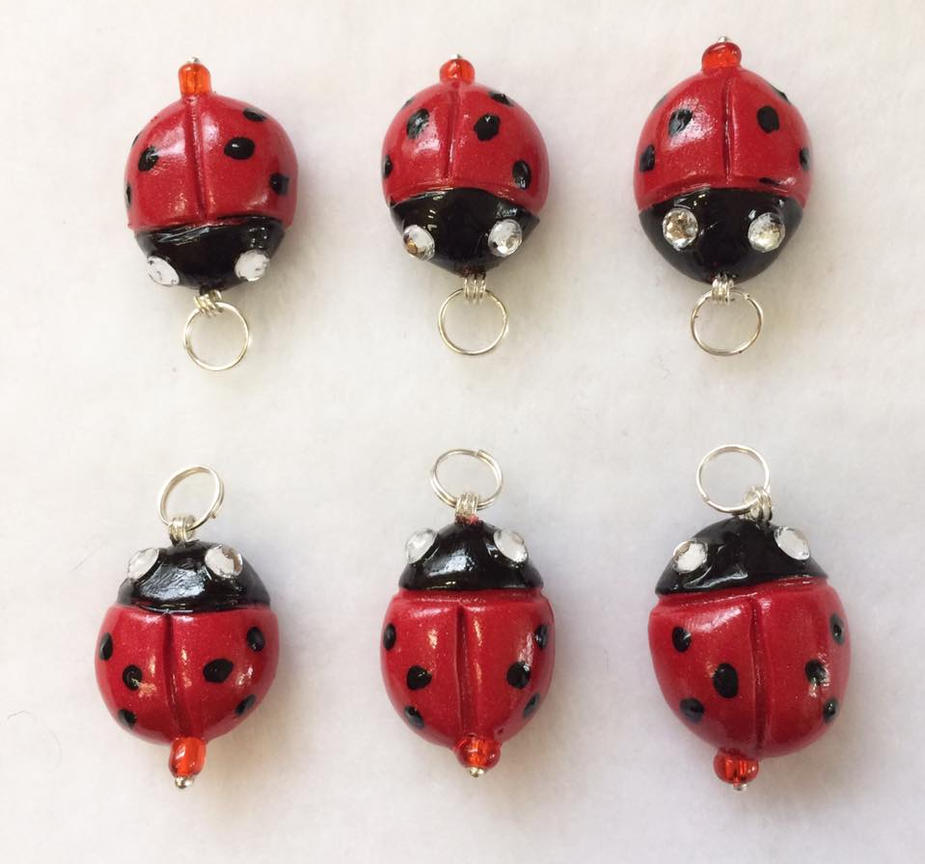Red Lady Bug Charms by mintdawn