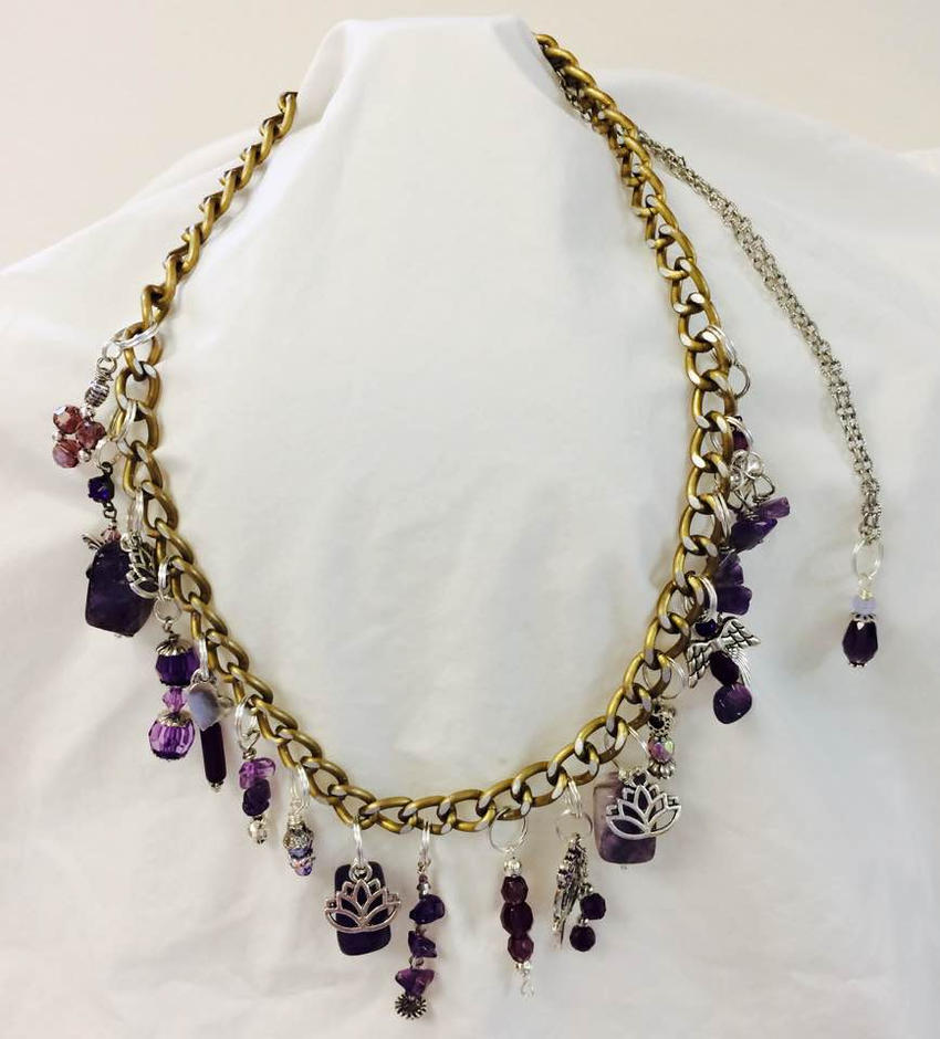 Amethyst Charm Necklace by mintdawn