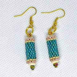 Aqua Peyote Tube Earrings