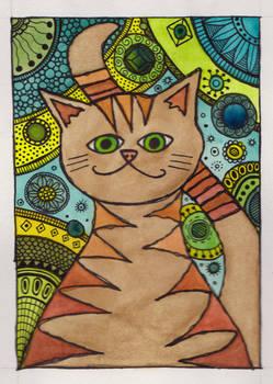 Orange Cat Watercolor Painting