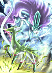 Virizion and Suicune by Aoi-1