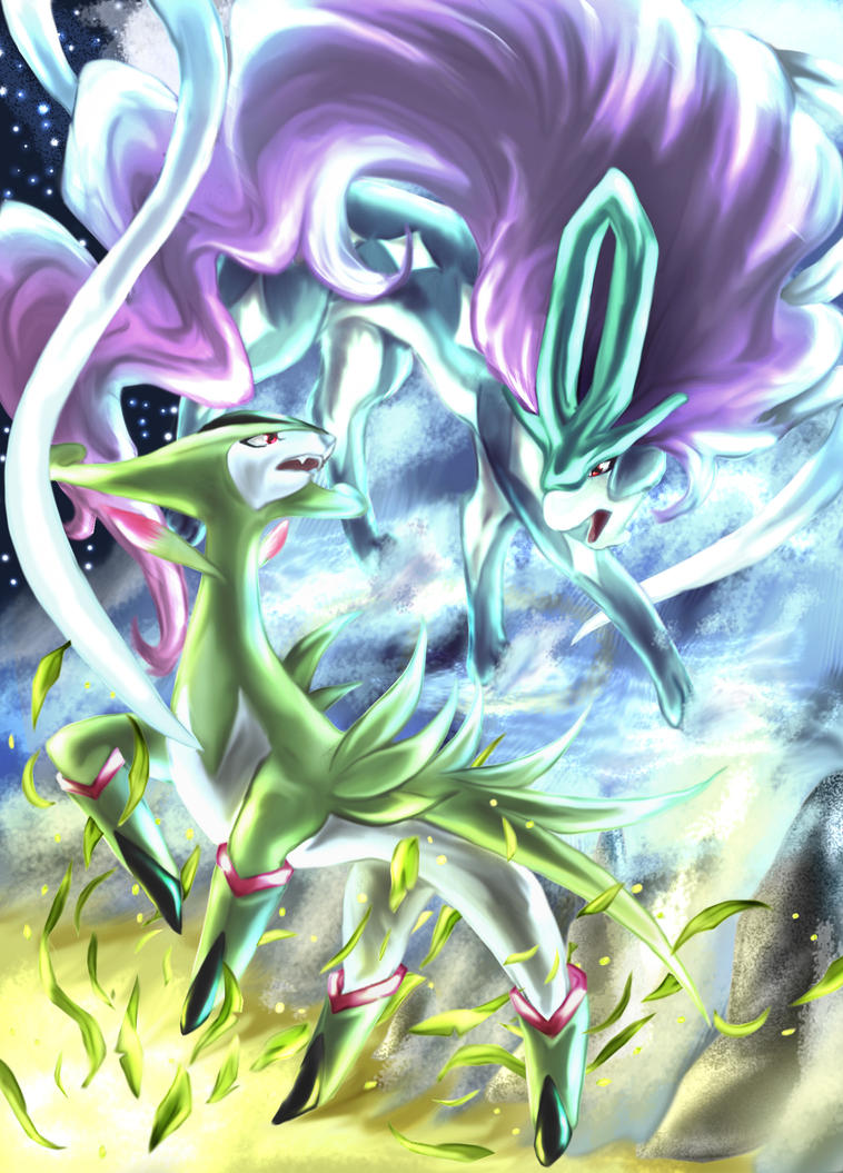 Virizion And Suicune By Aoi 1 On Deviantart