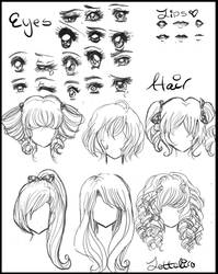Manga/Anime Eyes and Hair by Lettelira