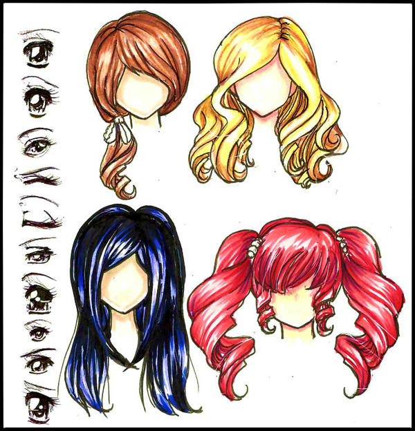 Manga/Anime Eyes and Hair. colored by Lettelira on DeviantArt