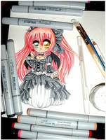 Gothic Lolita Chibi WIP by Lettelira
