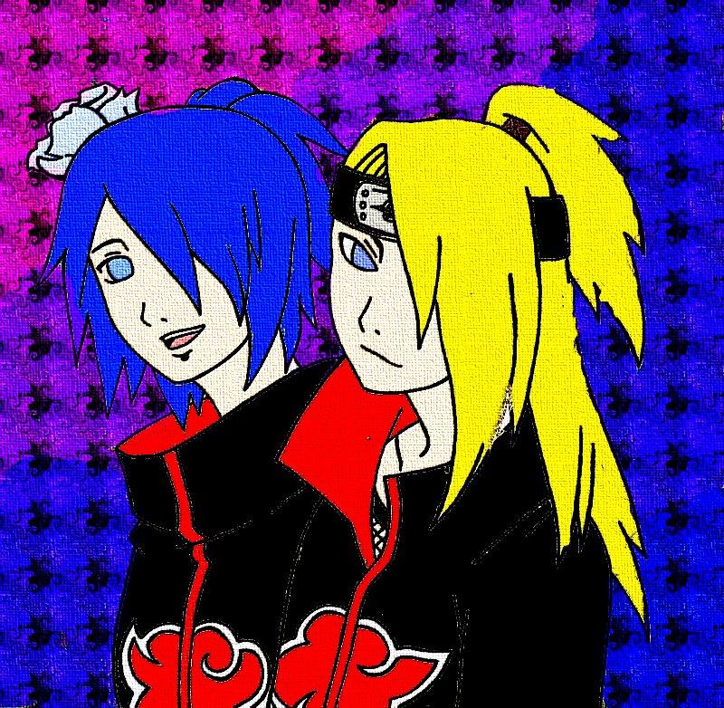 Deidara and Konan by KurohoKunoichi