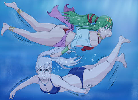 Comm - Tiki and Robin underwater
