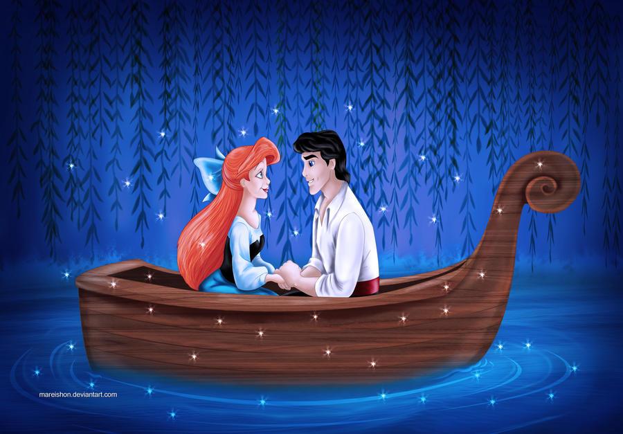 ариэль с принцем на лодке