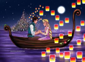 Rapunzel and Eugene by Mareishon