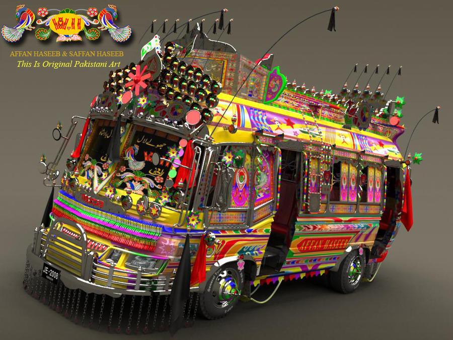 Create a  3D Pakistani Bus by Saffan