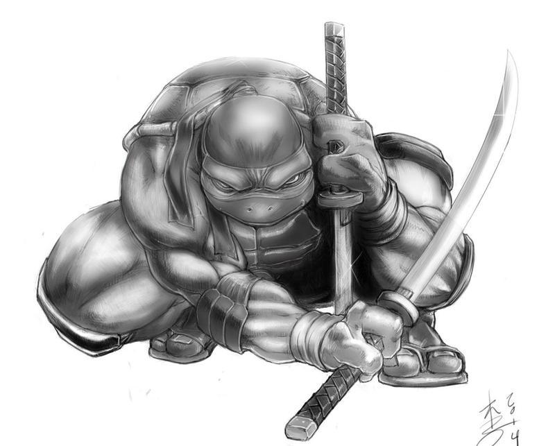 Turtle Power Leonardo Grayscale by arcais