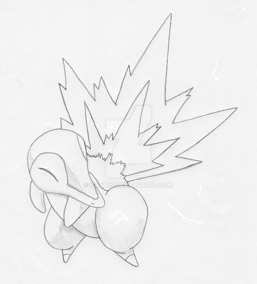 Cyndaquil uncolored by Kajhin