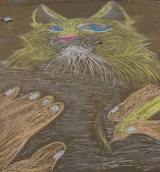 Chalk attacked lynx