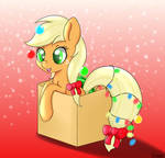 Applejack is a silly Christmas pony.