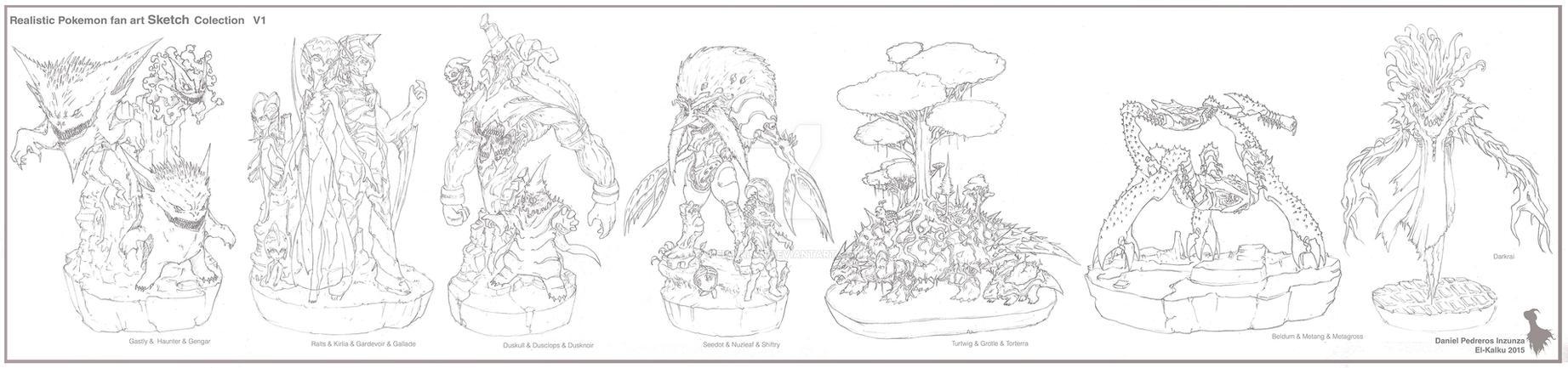 Pokemon Sketch Colection V1 By El Kalku by EL-KALKU