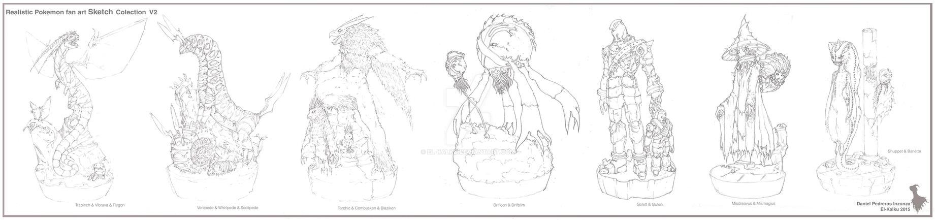 Pokemon Sketch Colection V2 By El Kalku by EL-KALKU